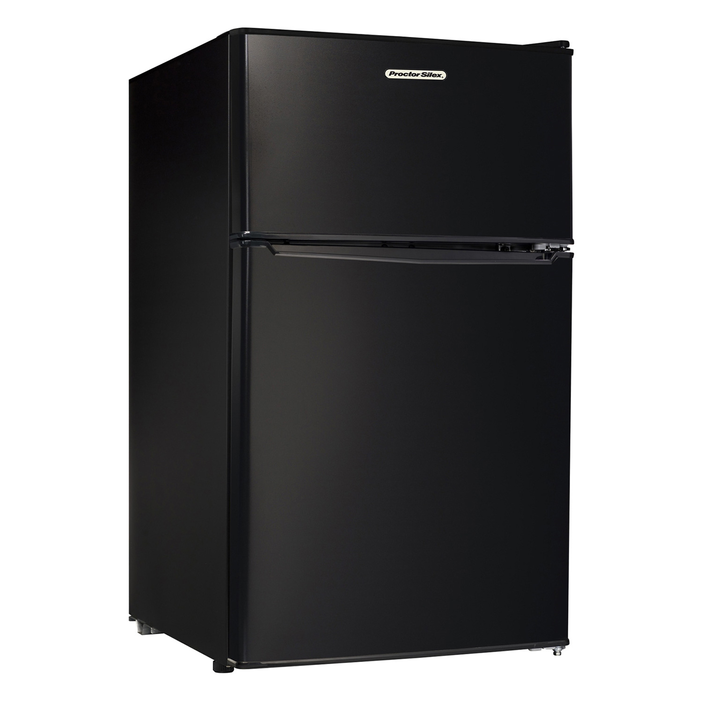 Compact Refrigerator with Reversible Double Door Top Mounted Freezer, 3.1 Cubic Feet, Black (86100)