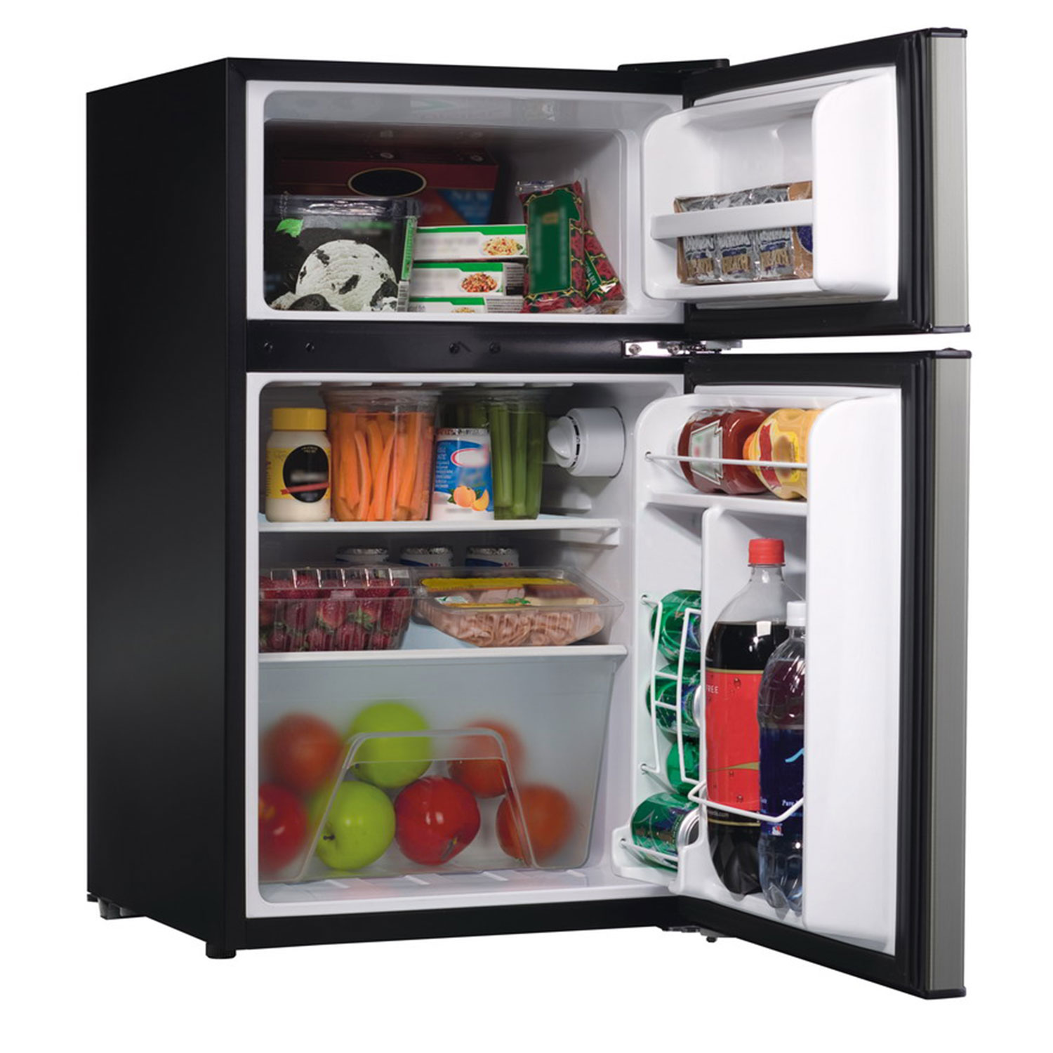 Compact Refrigerator with Reversible Double Door Top Mounted Freezer, 3.1 Cubic Feet, Silver (86101)